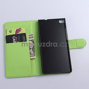 PU kožené peněženkové pouzdro na Huawei Ascend P8 - zelený - 5