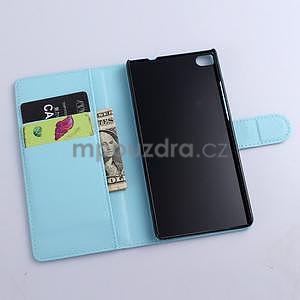 PU kožené peněženkové pouzdro na Huawei Ascend P8 - modrý - 5
