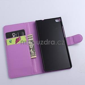 PU kožené peněženkové pouzdro na Huawei Ascend P8 - fialový - 5