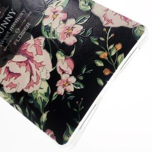 Softy gelový obal na mobil Huawei Mate 8 - květiny na černé pozadí - 5