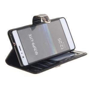 Luxury PU kožené peněženkové pouzdro na Huawei P9 Lite - černé - 5