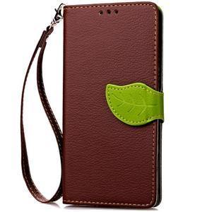 Leaf PU kožené pouzdro na Huawei P9 Lite - hnědé - 5