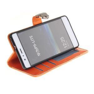 Luxury PU kožené peněženkové pouzdro na Huawei P9 Lite - oranžové - 5