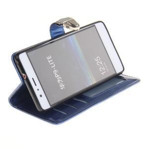 Luxury PU kožené peněženkové pouzdro na Huawei P9 Lite - modré - 5