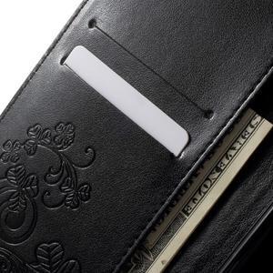Cloverleaf peněženkové pouzdro s kamínky na Huawei P9 Lite - černé - 5