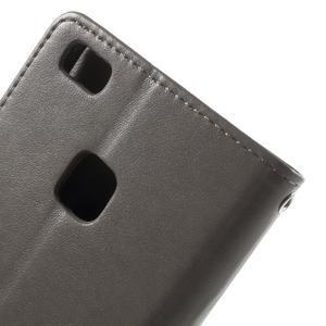 Cloverleaf peněženkové pouzdro s kamínky na Huawei P9 Lite - šedé - 5