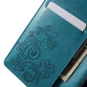 Cloverleaf peněženkové pouzdro s kamínky na Huawei P9 Lite - modré - 5