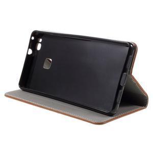 Klopové pouzdro na mobil Huawei P9 Lite - hnědé - 5