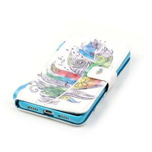 Knížkové PU kožené pouzdro na Huawei P9 Lite - barevná peříčka - 5