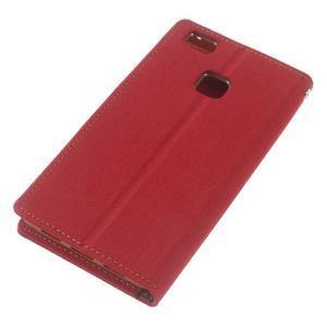 Canvas PU kožené/textilní pouzdro na Huawei P9 Lite - červené - 5