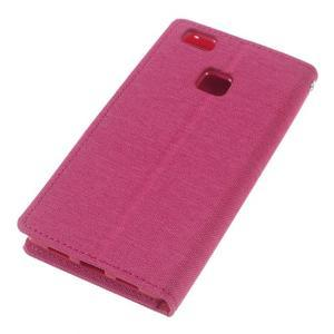 Canvas PU kožené/textilní pouzdro na Huawei P9 Lite - rose - 5