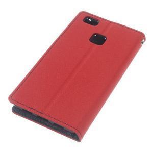 Diary PU kožené pouzdro na telefon Huawei P9 Lite - červené - 5