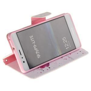 Lethy knížkové pouzdro na telefon Huawei P9 Lite - kvítek - 5