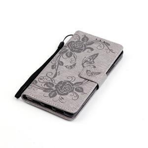 Květinoví motýlci peněženkové pouzdro na Huawei P9 Lite - šedé - 5