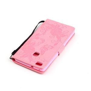 Květinoví motýlci peněženkové pouzdro na Huawei P9 Lite - růžové - 5