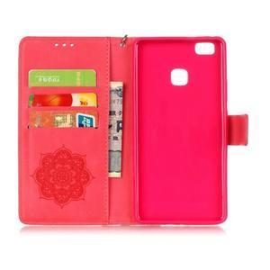 Dream PU kožené pouzdro s kamínky na Huawei P9 Lite - červené - 5