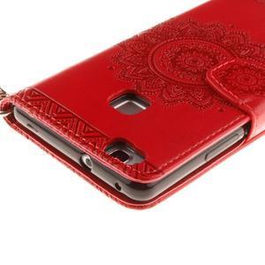 Mandala PU kožené pouzdro na Huawei P9 Lite - červené - 5