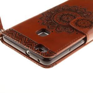 Mandala PU kožené pouzdro na Huawei P9 Lite - hnědé - 5