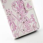 Víla PU kožené pouzdro s kamínky na Huawei P9 Lite - bílé/růžové - 5/7
