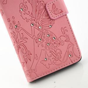 Víla PU kožené pouzdro s kamínky na Huawei P9 Lite - růžové - 5
