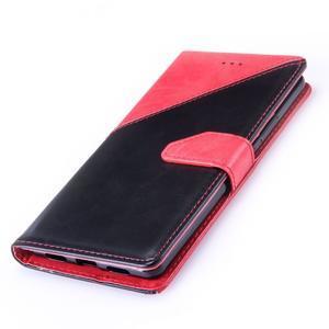 Duocolory PU kožené pouzdro na Huawei P9 Lite - červené/černé - 5