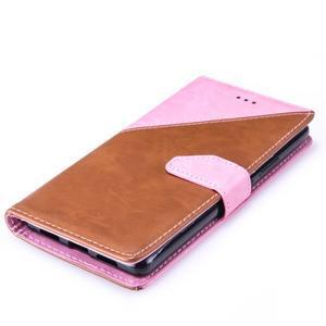 Duocolory PU kožené pouzdro na Huawei P9 Lite - růžové/hnědé - 5