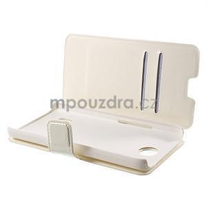 Bílé PU kožené pouzdro na Huawei Y635 - 5