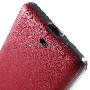 Ultra tenký kryt s jemnými koženkovými zády Microsoft Lumia 535 - červené - 5