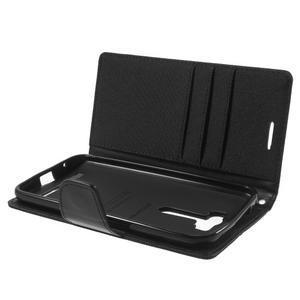 Canvas textilní/PU kožené pouzdro na Asus Zenfone 2 Laser - černé - 5