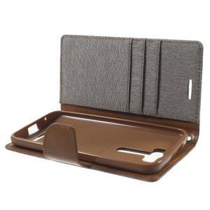 Canvas textilní/PU kožené pouzdro na Asus Zenfone 2 Laser - šedé - 5