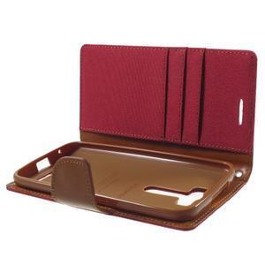 Canvas textilní/PU kožené pouzdro na Asus Zenfone 2 Laser - červené - 5