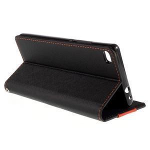 Style peněženkové pouzdro na Huawei Ascend P8 - černé - 5