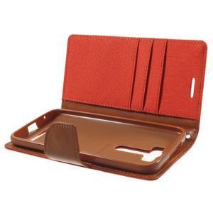 Canvas textilní/PU kožené pouzdro na Asus Zenfone 2 Laser - oranžové - 5