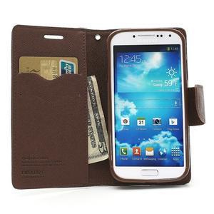 Fancy peněženkové pouzdro na Samsung Galaxy S4 - černé/hnědé - 5