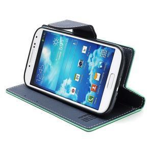 Fancy peněženkové pouzdro na Samsung Galaxy S4 -  azurové - 5