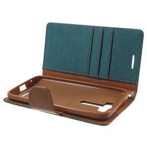 Canvas textilní/PU kožené pouzdro na Asus Zenfone 2 Laser - zelenomodré - 5