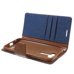 Canvas textilní/PU kožené pouzdro na Asus Zenfone 2 Laser - modré - 5