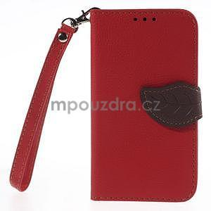 Červené/hnědé peněženkové pouzdro na Samsung Galaxy Core Prime - 5