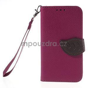 Rose/hnědé peněženkové pouzdro na Samsung Galaxy Core Prime - 5