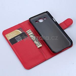 PU kožené peněženkové pouzdro na Samsung Galaxy E5 - červené - 5