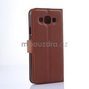 PU kožené peněženkové pouzdro na Samsung Galaxy E5 - hnědé - 5