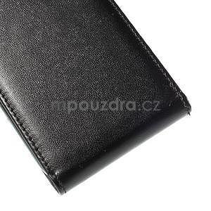 PU kožené flipové pouzdro Samsung Galaxy E5 - černé - 5