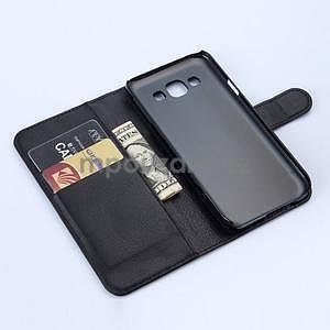 PU kožené peněženkové pouzdro na Samsung Galaxy E5 - černé - 5
