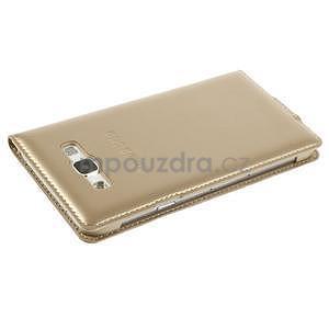 PU kožené pěněženkové pouzdro s okýnkem Samsung Galaxy E5 - zlaté - 5