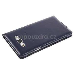 PU kožené pěněženkové pouzdro s okýnkem Samsung Galaxy E5 - tmavě modré - 5