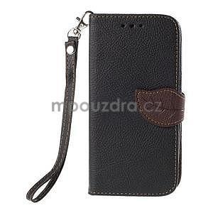 Černé/hnědé zapínací peněženkové pouzdro na Samsung Galaxy Grand Prime - 5