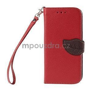 Červené/hnědé zapínací peněženkové pouzdro na Samsung Galaxy Grand Prime - 5