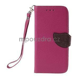 Rose/hnědé zapínací peněženkové pouzdro na Samsung Galaxy Grand Prime - 5