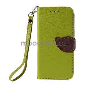 Zelené/hnědé zapínací peněženkové pouzdro na Samsung Galaxy Grand Prime - 5