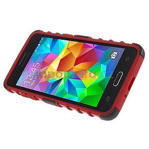 Vysoce odolný kryt se stojánkem na Samsung Galaxy Grand Prime - červený - 5